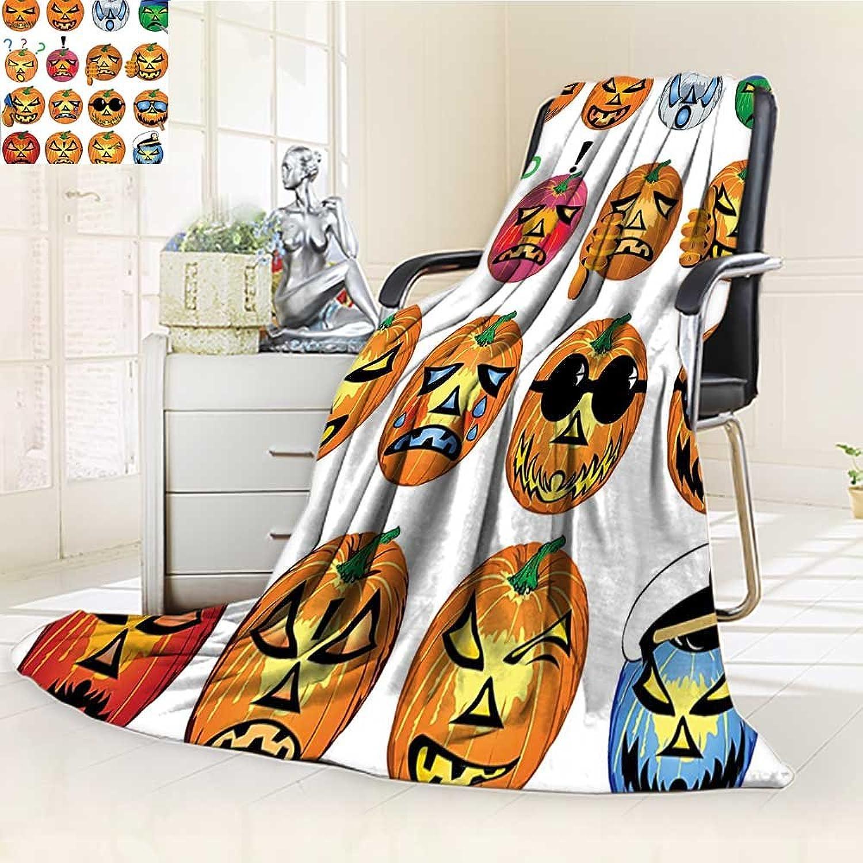 YOYIHOME Digital Printing Duplex Printed Blanket Pumpkin with Emoji Faces Halloween Humor Hipster Monsters Harvest Graphic Art orange Summer Quilt Comforter  W47 x H59