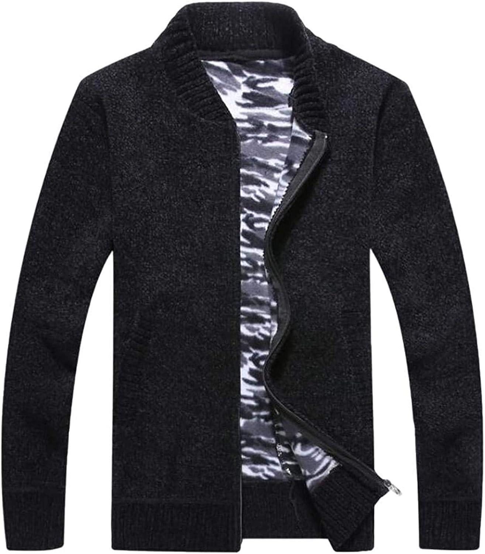 Men Zip Up Fleece Knit Winter Sweater Stand Collar Cardigan Coat