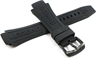 Swiss Legend 28MM Black Silicone Rubber Watch Strap & Black Stainless Buckle fits 46mm Super Shield Watch