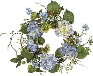 Nearly Natural 4642-BL Hydrangea Wreath, 15-Inch, Blue/Purple