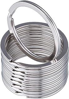 30mm Round Flat Key Chain Rings 50 pcs Metal Split Ring for Home Car Keys Organization, Silver