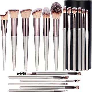 Dolson Makeup Brush Premium Synthetic Foundation Powder Concealers Eye Shadows Silver Black Makeup Brush Set of 18 Pcs