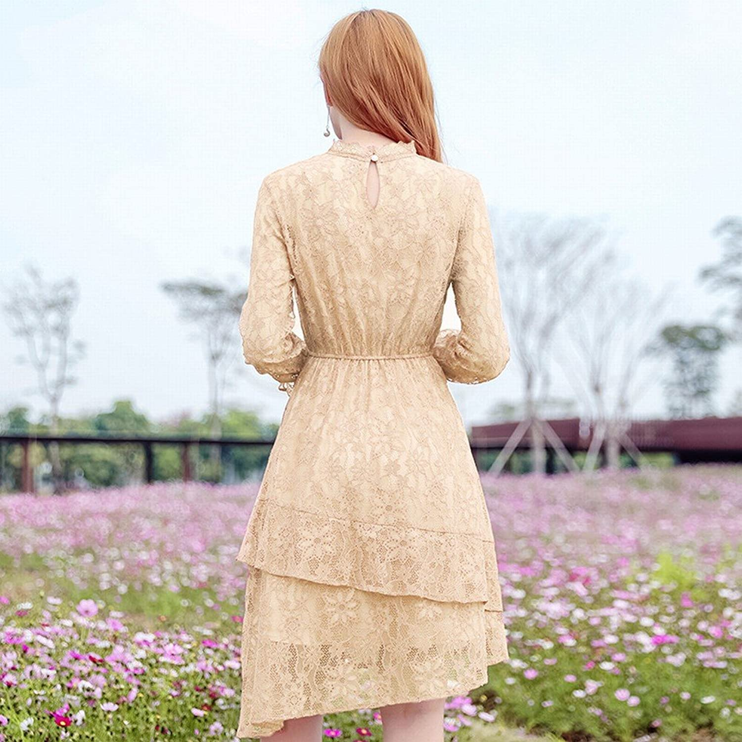 DEED Spring Lace Boutique Dress Round Neck Flounced in The Long Section Slim Waist Skirt