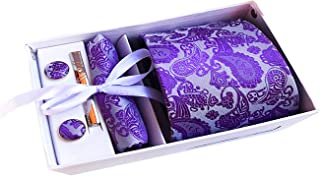 Mens Burgundy Paisley Necktie Party Tie Clip Pocket Square Cufflinks Set