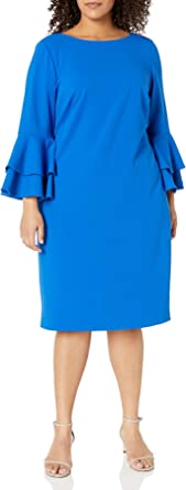 Calvin Klein Women's Plus Size Tiered Bell Sleeve Dress, Serene, 16W