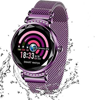Wysgvazgv Fitness Tracker para mujer H2 reloj Fitness Activity Tracker pulsómetro de muñeca impermeable IP67 Smartwatch podómetro contador calorías para Samsung Huawei iOS Android, violeta