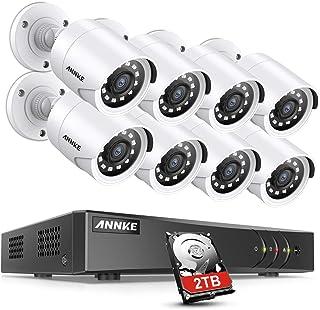 ANNKE Sistema de Seguridad 8 1080P Cámaras de Vigilancia CCTV 2MP Onvif H.265+ DVR P2P 8CH TVI IP66 Impermeable 36 IR Leds -2TB Disco Duro