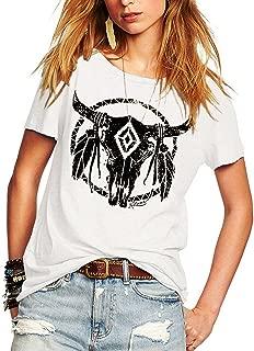 Womens Street Pattern T-Shirt Short Sleeve Loose Summer Top Tee