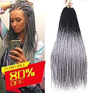 6 Packs 24 Inch Grey Senegalese Twist Crochet Hair Braids, Long Ombre Crochet Twists for Black Woman Kanekalon Braiding Hair, Havana Mambo Twist 20Strands/Pack (T1B/Gray)