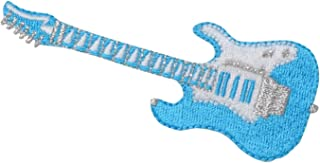Electric Guitar - Turquoise/White - Music - Iron on Applique/Embroidered Patch