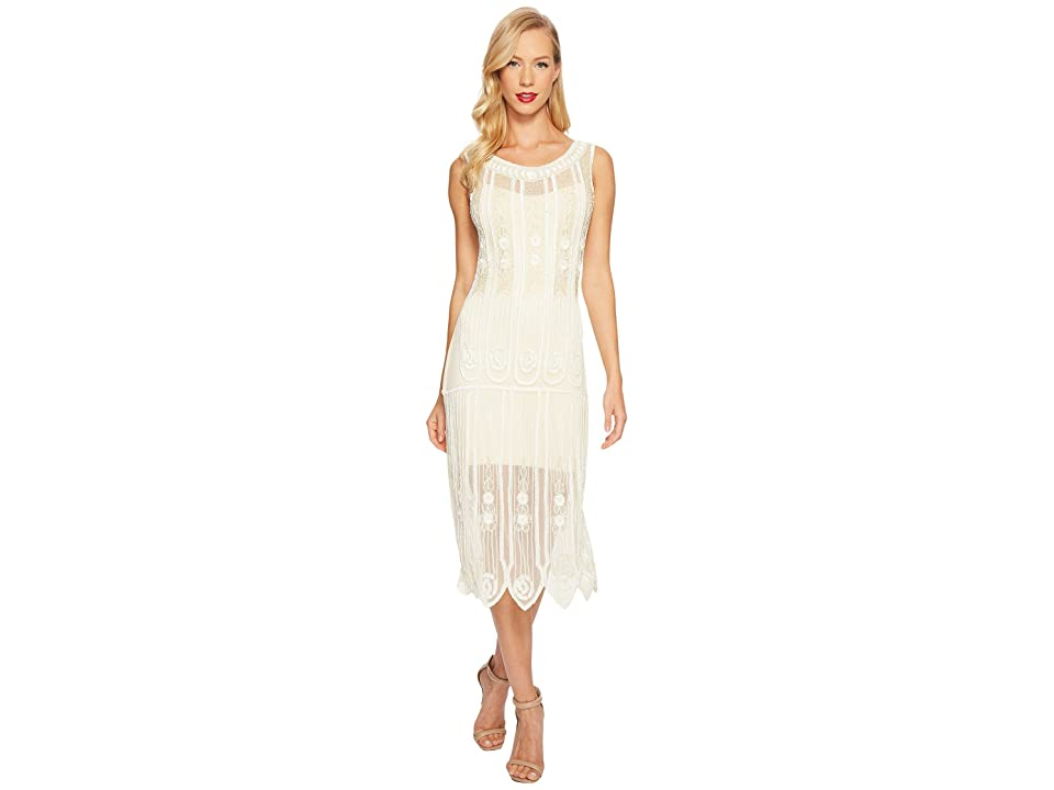 Unique Vintage Steinway Flapper Dress (Ivory) Women