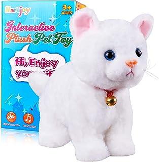 White Plush Cat Stuffed Animal Interactive Cat Robot Toy, Robotic Cat Barking Meow Kitten Touch Control, Electronic Cat Pe...