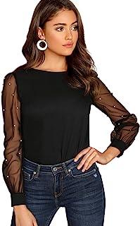 Women's Pearl Sheer Mesh Long Sleeve Tops Blouse