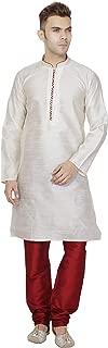 SKAVIJ Men's Tunic Art Silk Kurta Pajama Set Wedding Dress