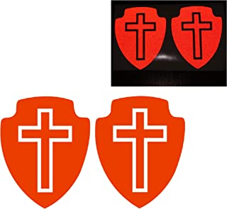 2x Red Cross Shield Jesus Trim Line Sign Christian Reflective Decal Decals Reflector Vinyl Sticker Safety Small Believe Love Peace Faith Lucky Praying Logo Bumper for Motorcycle Bike Racing Car Laptop Door Window Helmet Tailgate Truck Trunk Mac Phone Mobile