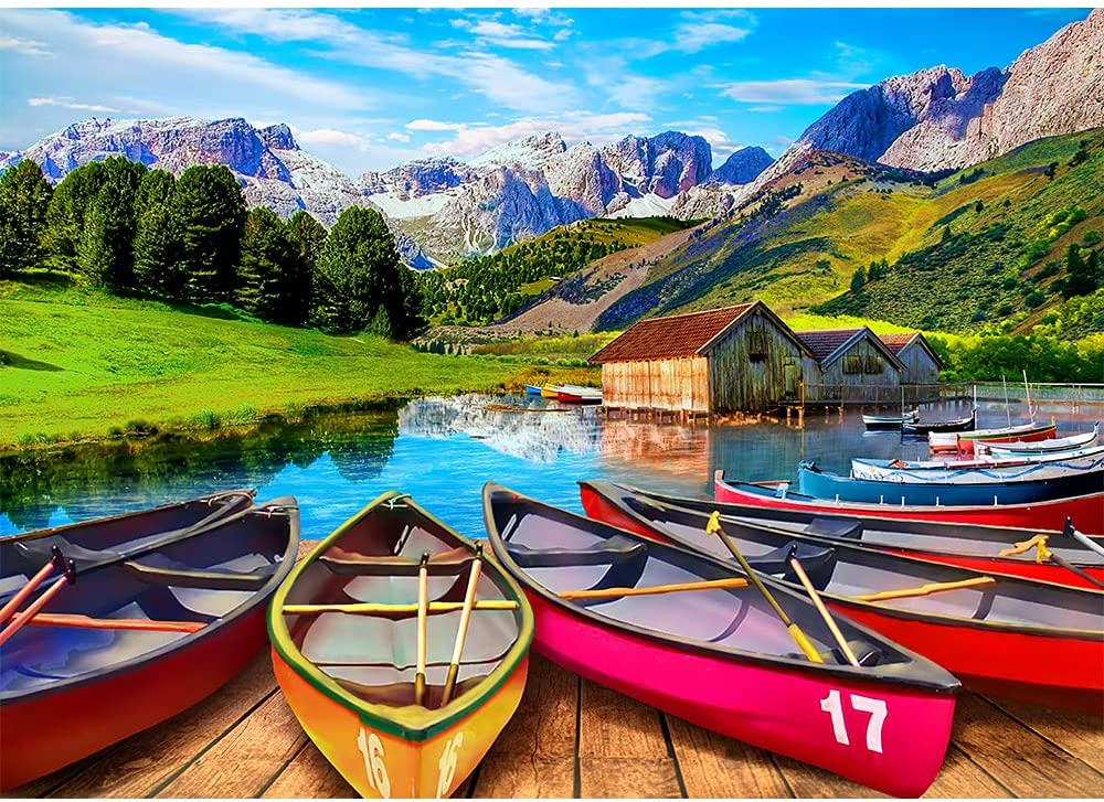 Jigsaw Puzzles for Adults 1000 Piece Puzzle for Adults 1000 Pieces Jigsaw Puzzle 1000 Pieces-Italy Alpine Lake Canoes: Toys & Games