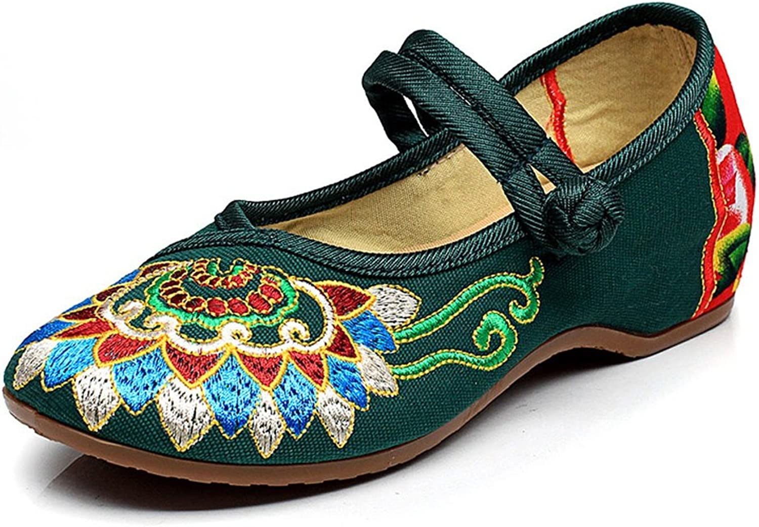 Vintage Ethnic Style Embroidered shoes Casual Low Heel Breathable Cloth shoes Comfortable Ballet shoes ( color   Green , Size   36 )