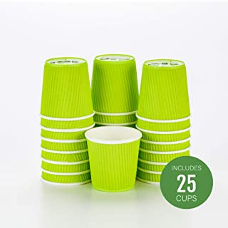 Disposable Paper Hot Cups - 25ct - Hot Beverage Cups, Paper Tea Cup - 4 oz - Eco Green - Ripple Wall, No Need For Sleeves - Insulated - Wholesale - Takeout Coffee Cup - Restaurantware