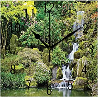 GULTMEE Square Wall Clock Home Decorative, Pond in Asian Style Garden Arboretum Trees Bush Foliage Rocks Waterscape Picture, 7.8