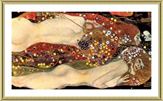 Water Serpents Snakes by Gustav Klimt | Gold framed picture printed on 100% cotton canvas, attached to the foam board | Ready to hang frame | 26