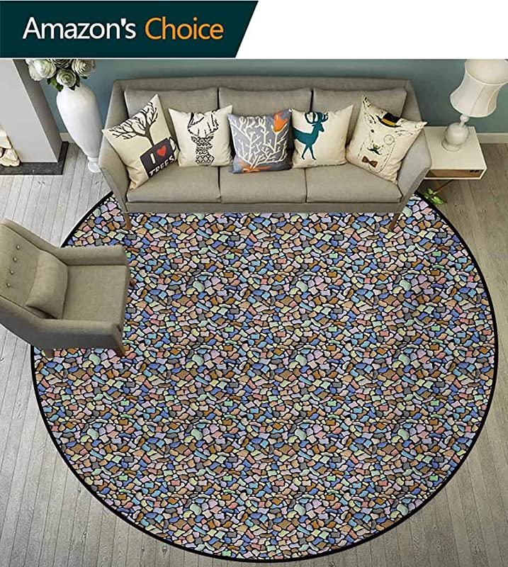RUGSMAT Colorful Computer Chair Floor Mat Colorful Stones Pattern Cartoon Style Ornamental Abstract Rubble Illustration Printed Round Carpet For Children Bedroom Play Tent Diameter 47 Inch