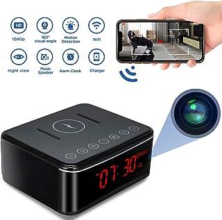 Cámara Espía 1080P HD WiFi Cámara Oculta Reloj Mini cámara espía Cámaras de vigilancia Seguridad para el hogar de Oficina Reloj Despertador/Visión Nocturna/Detección de Movimiento/Carga inalámbrica