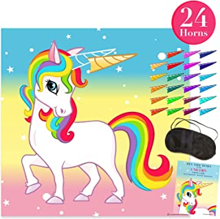 Pin The Horn on The Unicorn Party Game - Party Supplies for Kids Fun Rainbow Birthday (24 Stickers) - Buy as a Gift or Wall Decoration for Your Child