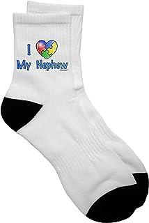 TooLoud I Heart My Nephew - Autism Awareness Adult Short Socks