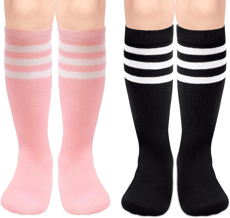 Toddler Soccer Socks Boys Girls Soccer Socks Kids Baby Knee High Socks for Toddler Girls Toddler Tube Socks with Stripes