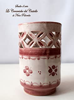 Bicchiere Portaspazzolini Linea Rosa Ceramica Realizzato e Dipinto a mano da Le Ceramiche del Castello Nina Palomba Made i...