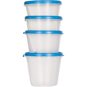 Cutting EDGE SuperSturdy Eco Plastic Container Set, 4-Pieces (1000ml, 750ml, 2X500ml), AirTight Plastic Food Container Kitchen Storage Set, Polypropylene Grocery & Fridge Container - Blue