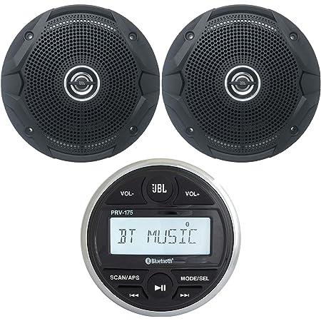JBL PRV Marine Digital Media Receiver with Built-in Bluetooth, 2 x 6.5 150 Watts Dual Cone Boat Speakers - Black