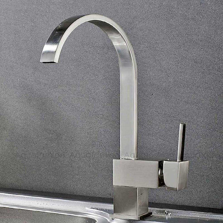 FZHLR Polished Chrome Black Brushed Nickel Kitchen Faucet 360 Degree redatable Kitchen Mixer Faucet Brass Kitchen Sink Faucet Mixer,Brushed Nickel