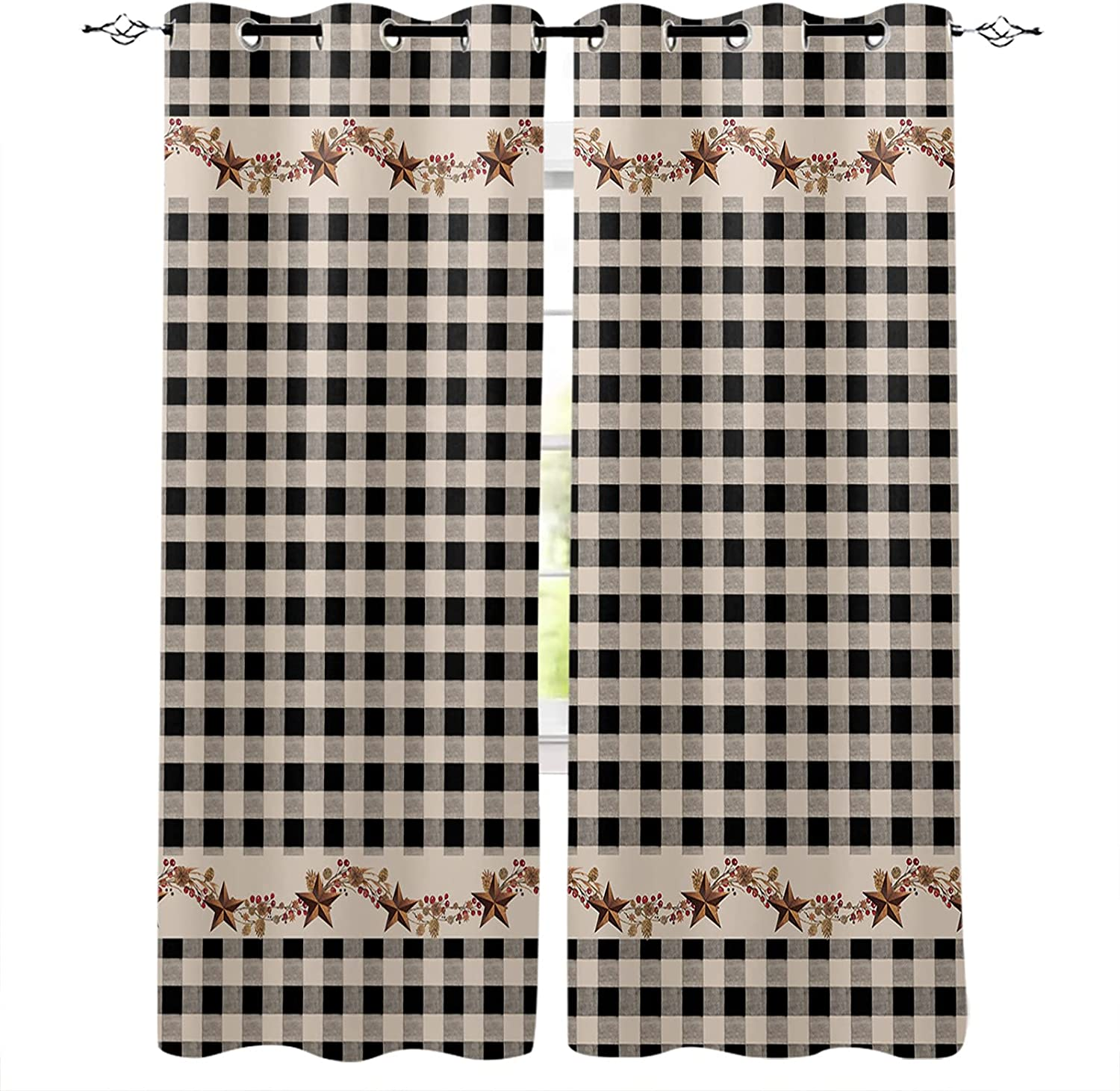 2021 spring and summer new 2 Panel Window Drapes for Kitchen Far Country Recommendation Star Cafe Vintage