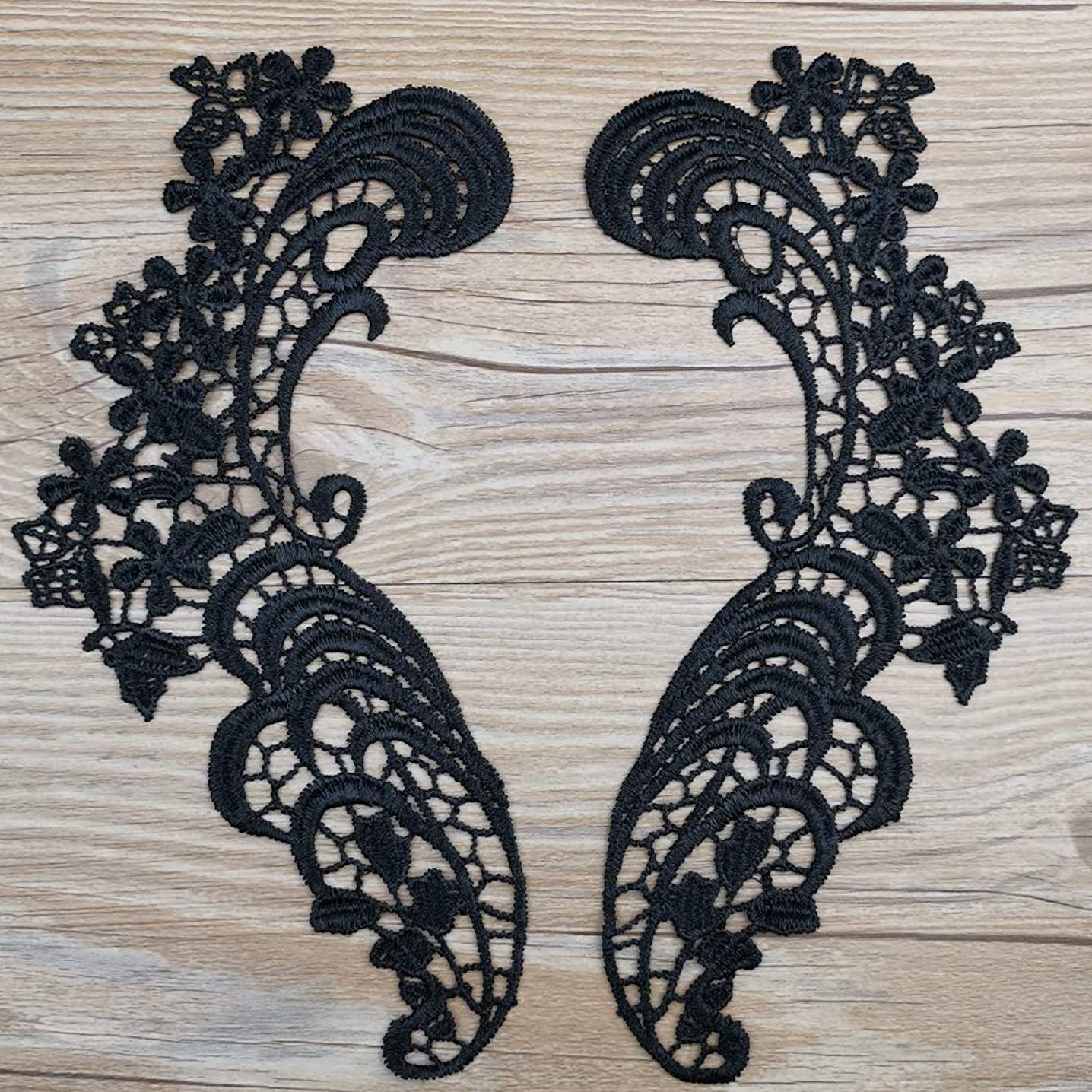 1 Pair Black Clothing Lace Flower Applique Headdress Hair Accessories Flowers Collar Patch DIY Accessories