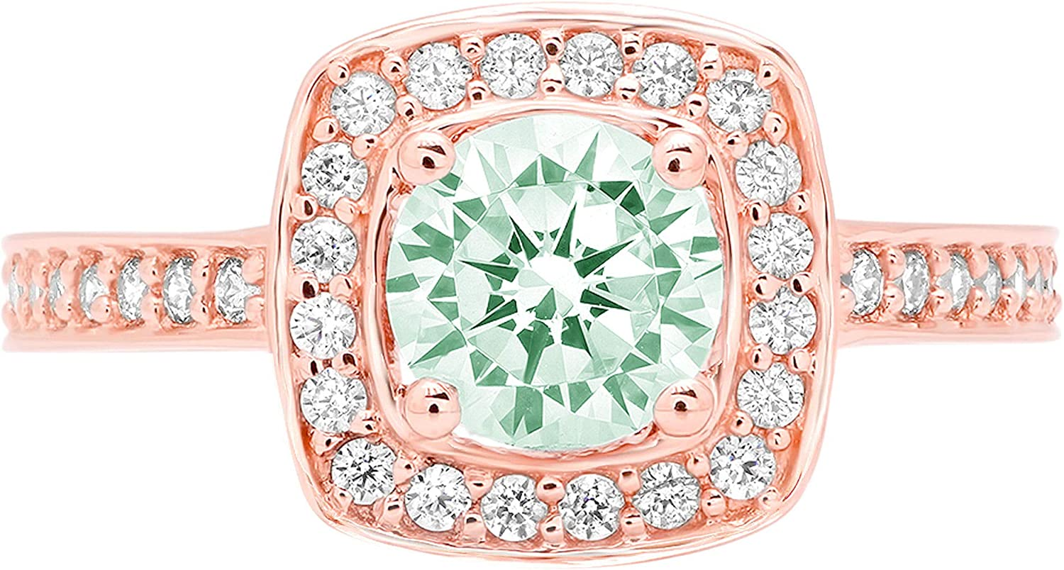 1.33ct Brilliant Round Cut Halo Solitaire Light Sea Green Simulated Diamond CZ VVS1 Designer Modern Statement with accent Ring Solid 14k Pink Rose Gold Clara Pucci