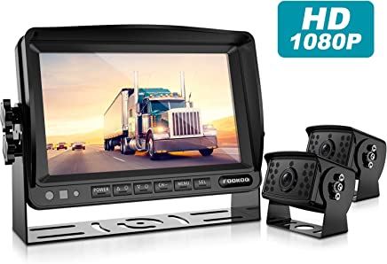 $259 Get Fookoo Ⅱ HD Backup Camera System Kit,7''1080P Reversing Monitor+IP69 Waterproof Rear View Camera,Sharp CCD Chip, 100% Not Wash Up,Truck/Semi-Trailer/Box Truck/RV (FHD2-Wired)