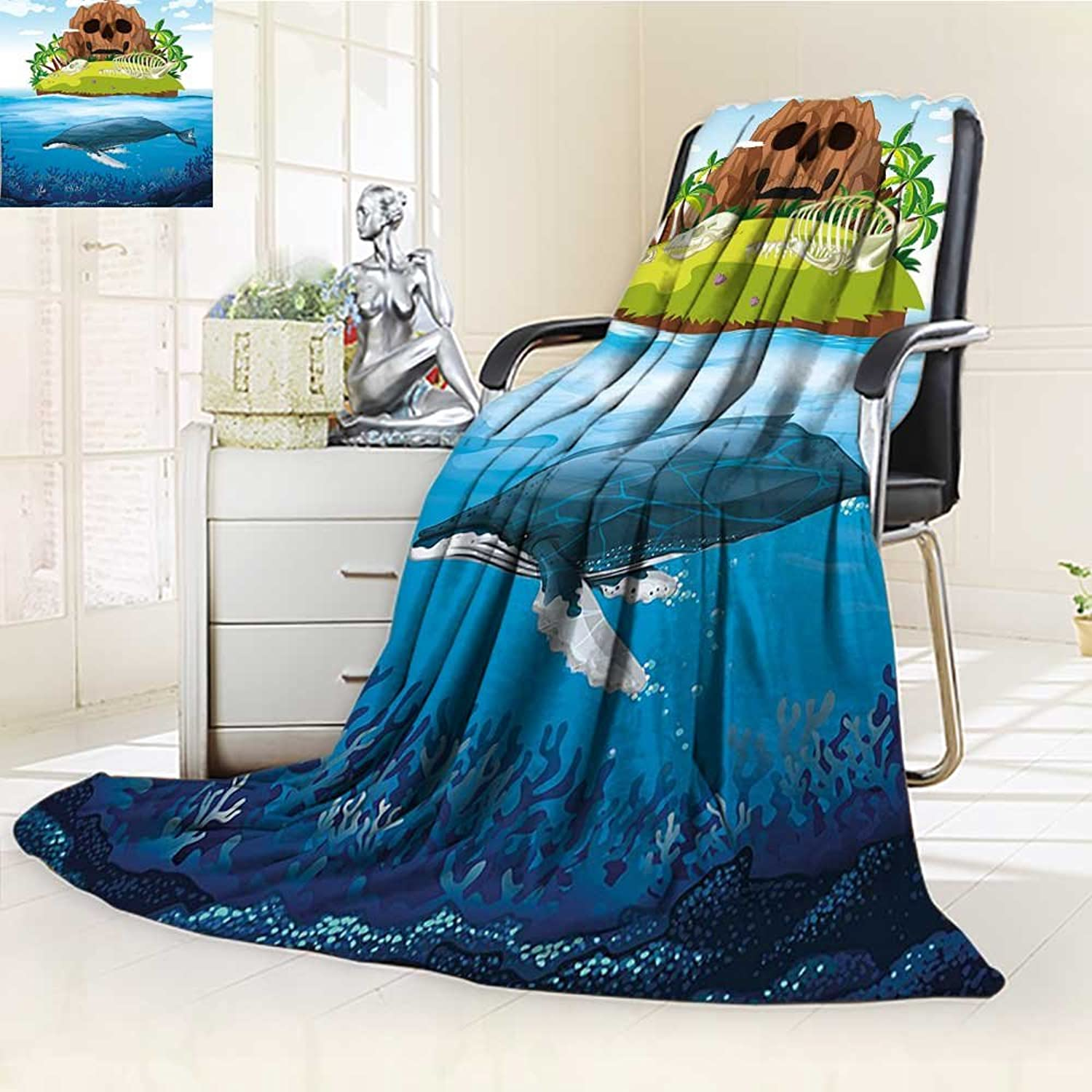 Warm Microfiber All Season Blanket Whale Huge Whale Diving into in Rainbow Perfect for Teens Print Artwork Image,Multicolor