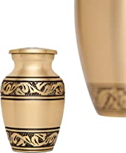 Funeral Keepsake Urn by Liliane - Cremation Urn for Human Ashes as well as for Pets - Hand Made in Brass and Hand Engraved - Fits small amount of Cremated Remains - (Lauriers Keepsake in Gold Finish)
