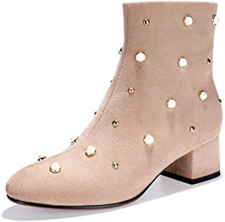 Women's Bonnie-Pearl Studded Round Toe Ankle Booties Low Block Heel Side Zipper Faux Suede Short Boots