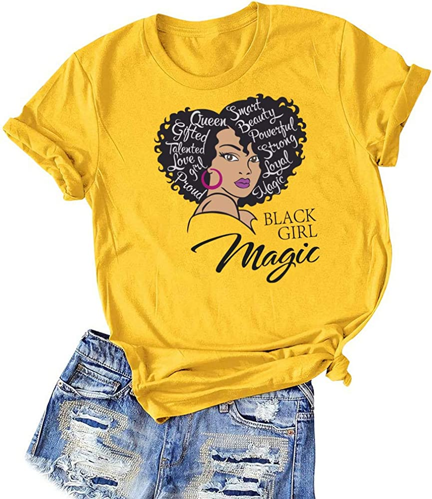 Black Girl Magic Graphic tees for Women, Fashion Afro American Natural Hair Queen Female T-Shirts