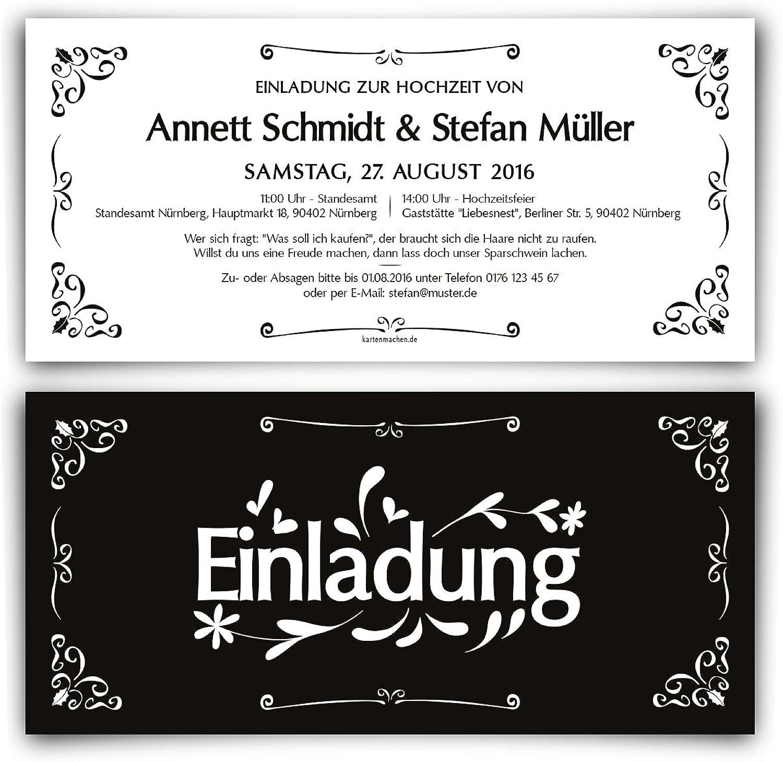 Einladungen zur Hochzeit (40 Stück) Schwarz Weiß - schwarz & Weiß Einladungskarten B01AUY1CYS  | Verrückte Preis