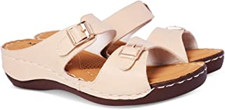 KRAFTER Latest Collection, Comfortable & Stylish Women's Synthetic Leather Orthopedic Doctor Sole Slipper for Women