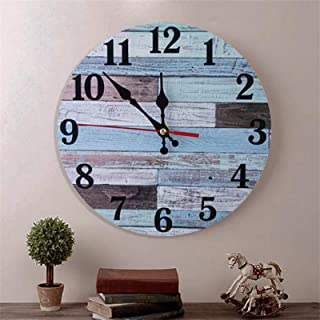 Wooden Wall Clock Silent Non-Ticking , Battery Operated, Vintage Round/Square Rustic Coastal Wall Clocks Decorative for Ho...
