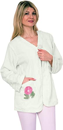 Bath & Robes Women's 100% Cotton Chenille Bed Jacket Embroidered