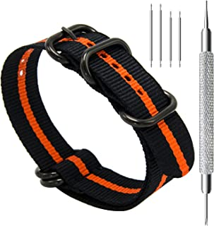 Heavy Duty G10 Zulu Military Watch Bands NATO Premium Ballistic Nylon Watch Strap 5 Rings with Stainless Steel Buckle 20mm 22mm 24mm