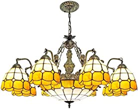 Multi-Head Yellow Mediterranean Chandelier Tiffany Style Hanging Lamp Retro Stained Glass Pendant Lighting Fixture for Liv...