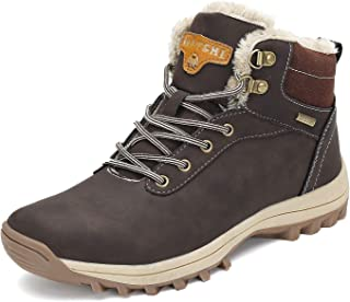 Mens Womens Winter Ankle Snow Hiking Boots Warm Water Resistant Non Slip Fur Lined