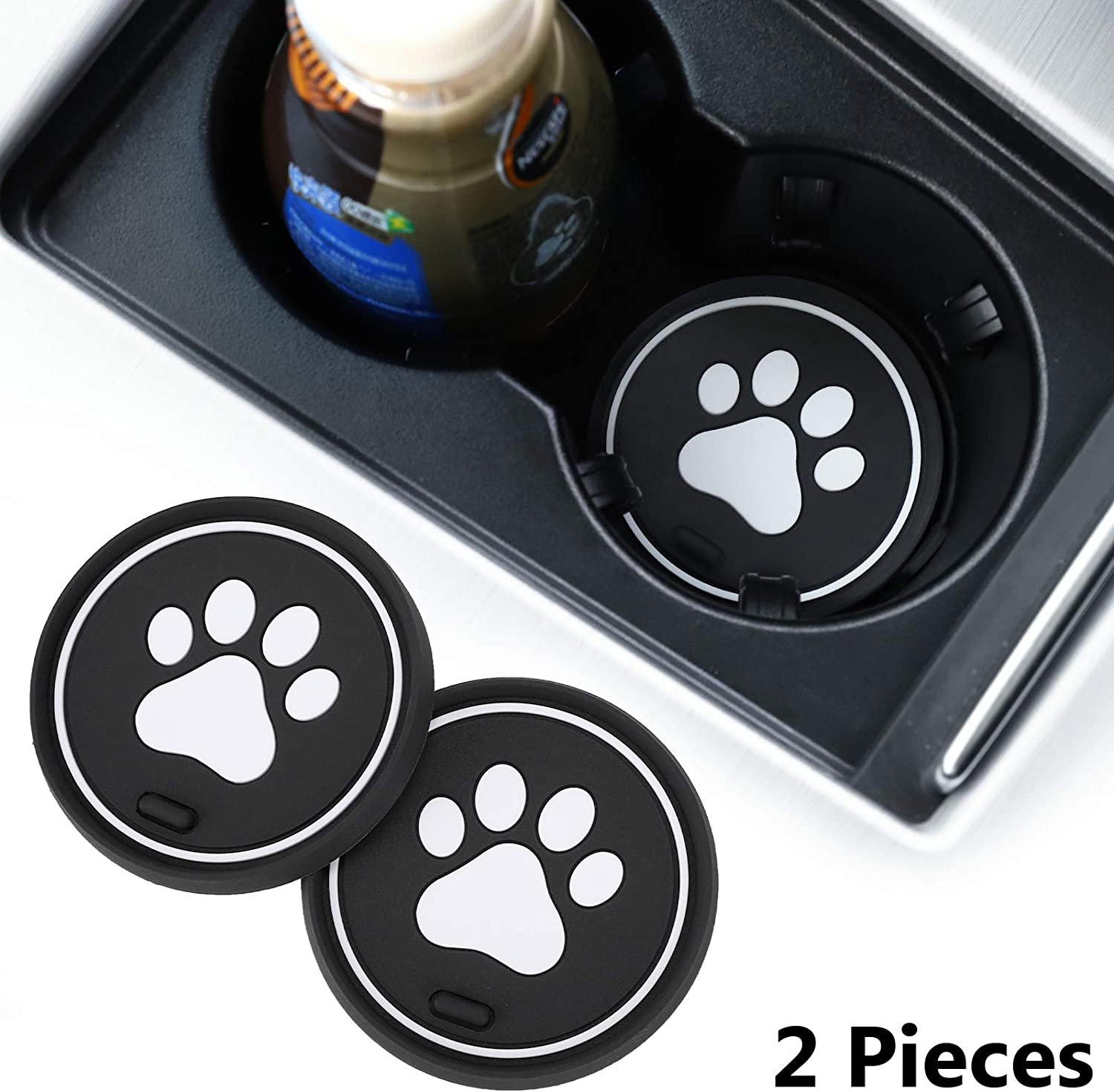 2.75 Inch Soft Rubber Pad Set Round Auto Cup Holder Insert Drink Coaster Car Interior Accessories DIYcarhome 2 Pack Car Cup Holder Coasters for Dallas Cowboys
