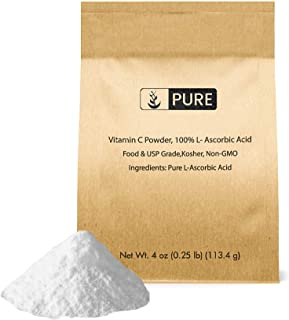 Vitamin C Powder (4 oz.) by Pure Organic Ingredients, Eco-Friendly Packaging, L-Ascorbic Acid, Antioxidant, Boost Immune S...